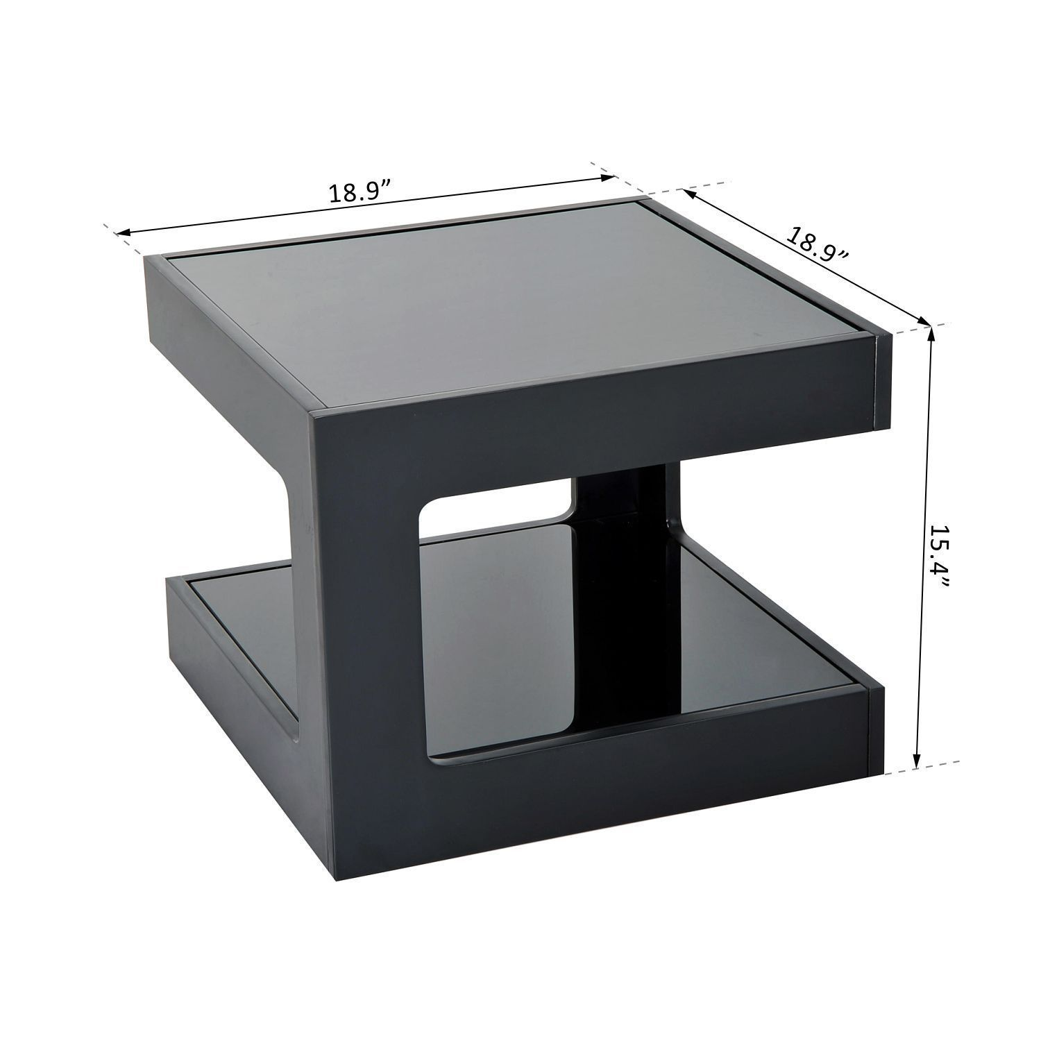 Modern Square Cube Coffee Side Sofa End Table w/ Glass Top