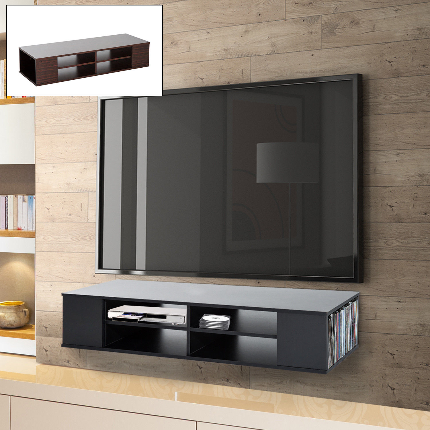 In Wall Media Cabinet Details About Modern 47 Floating Wall Mounted Tv Stand Unit Cabinet Media Center Shelf Storage