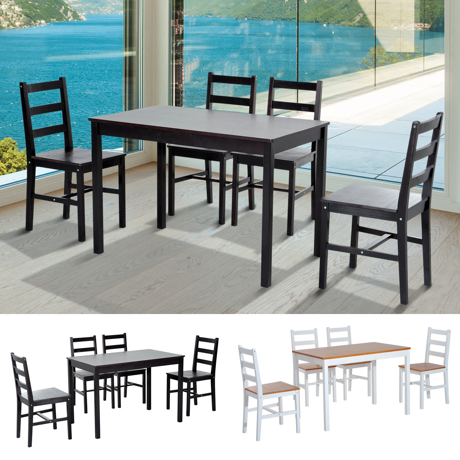 Breakfast Chairs Details About 5pc Dining Table Chairs Set Solid Wood Kitchen Breakfast Dinette Furniture