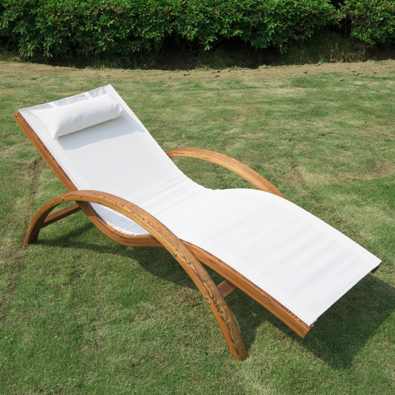 Holz Liegestuhl Wooden Patio Chaise Lounge Chair Outdoor Furniture Pool