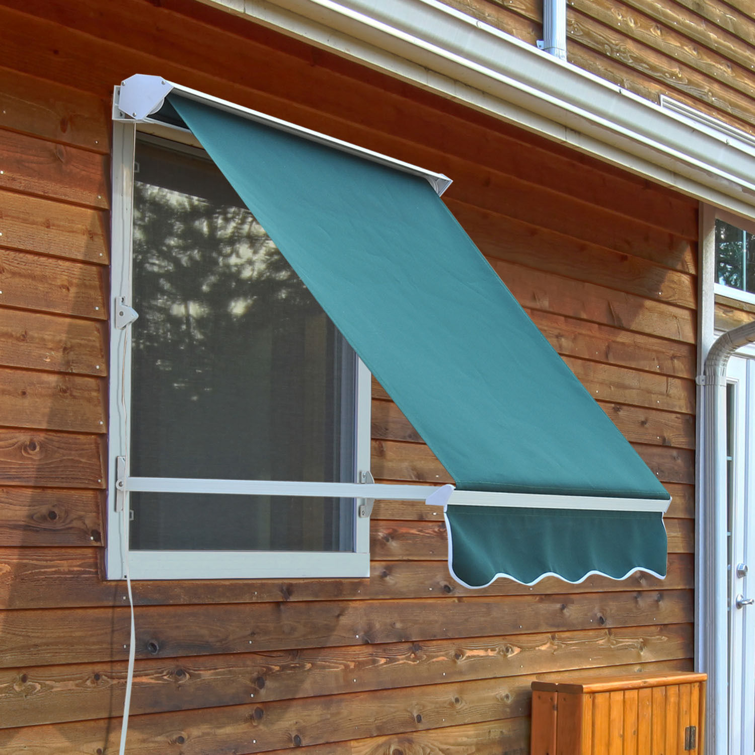 Outsunny Store Banne Manuel Outsunny Drop Retractable Window Awning Canopy Sun Shade