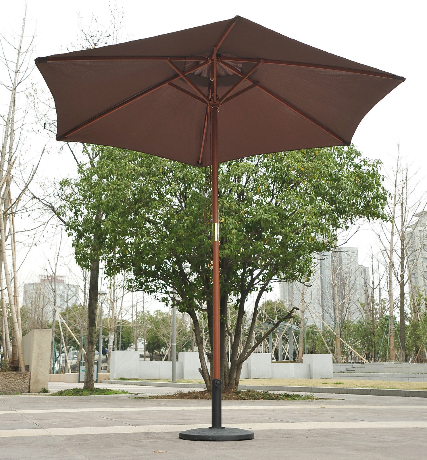 Outdoor Shade Umbrella 2 5m Wood Wooden Garden Parasol Sun Shade Patio Outdoor
