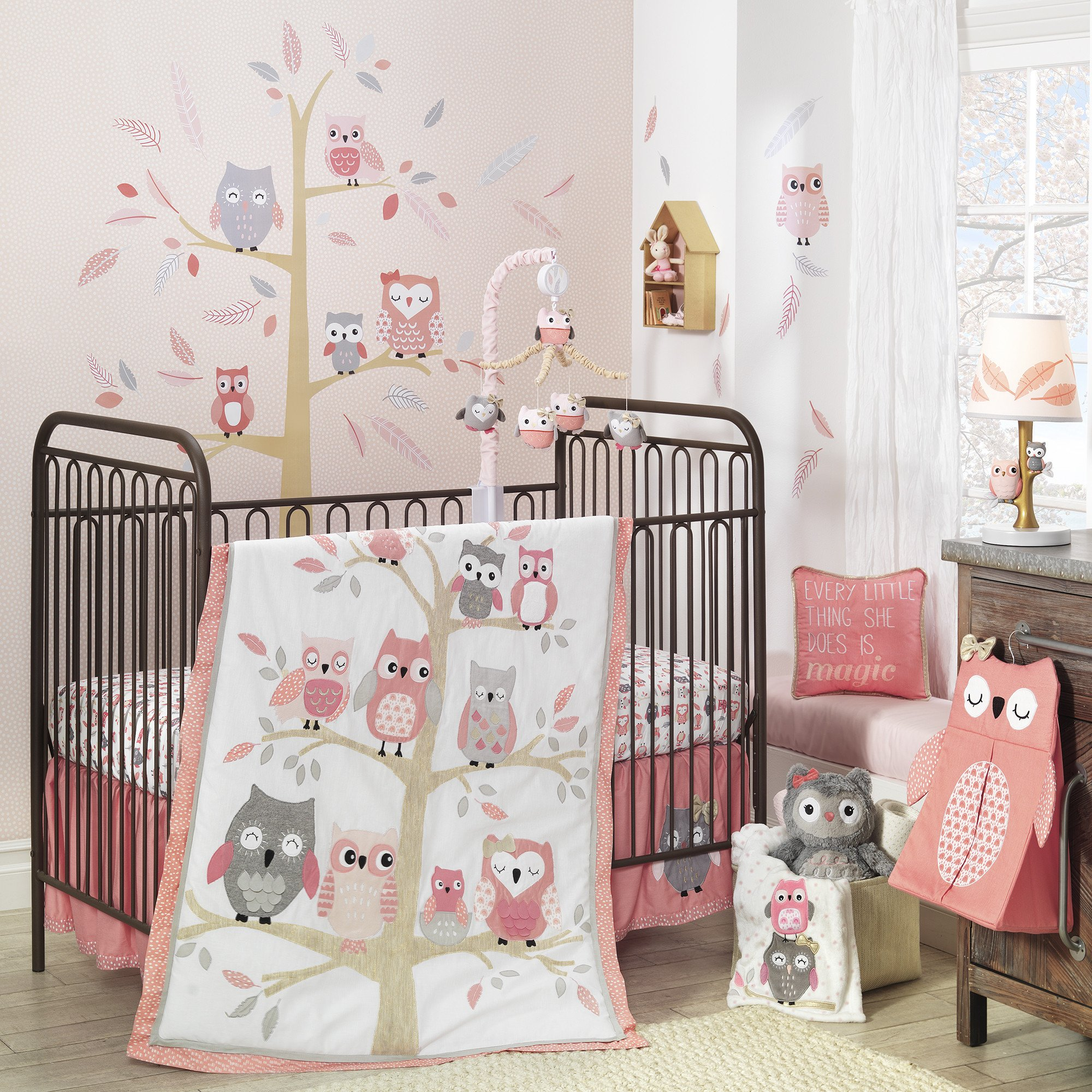 Baby Cradle Sheets Details About Lambs Ivy Family Tree Pink Gray Owl 6 Piece Nursery Baby Crib Bedding Set