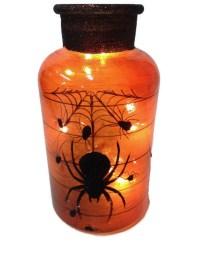 Stony Creek Glass Orange Halloween Jar - Black Spider | eBay