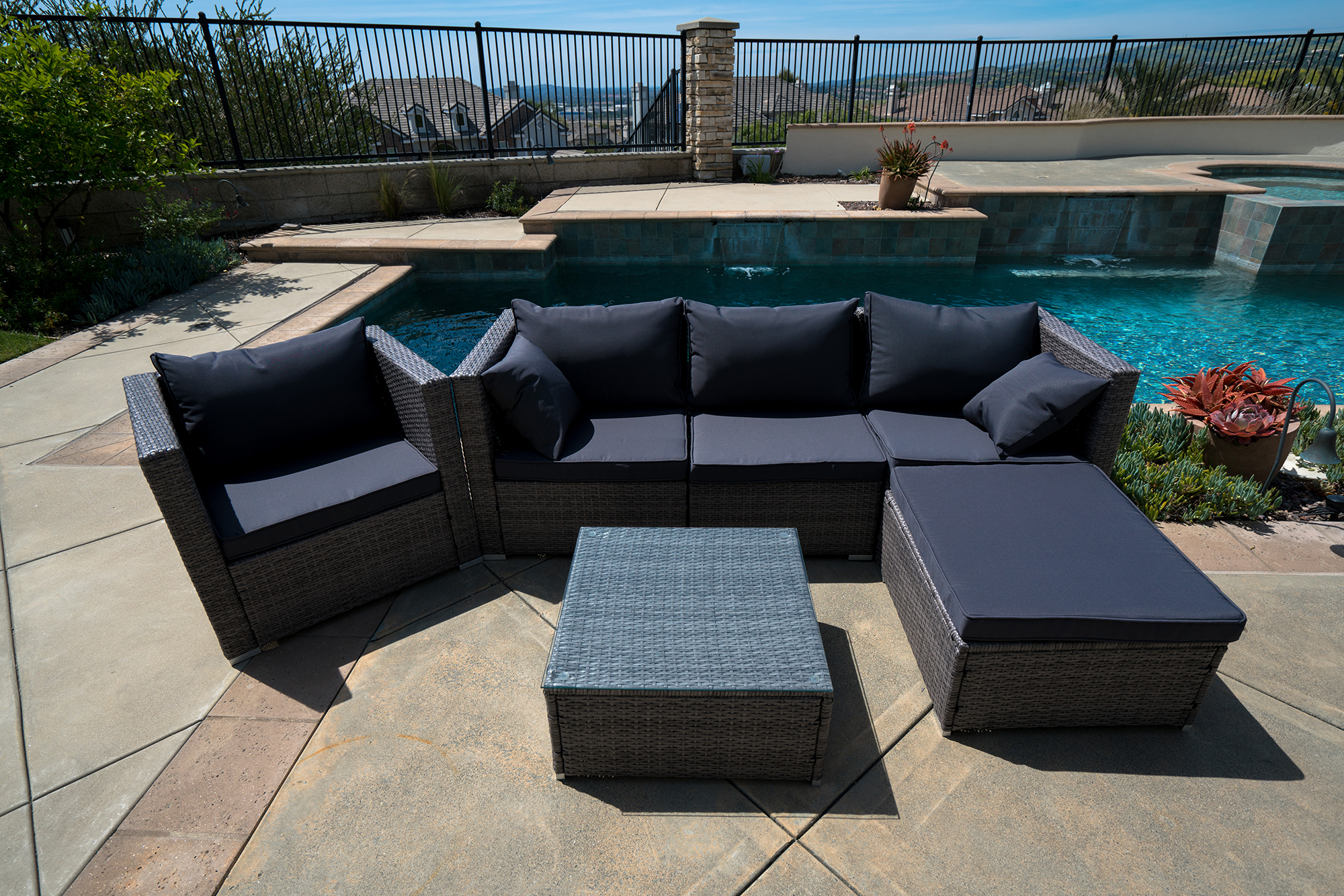 Outdoor Couch Set 6pc Outdoor Patio Furniture Sectional Rattan Wicker Sofa