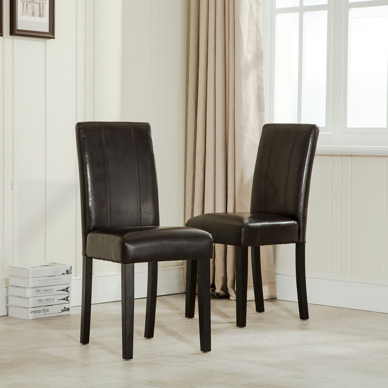 Leather Dining Room Chairs Details About Elegant Modern Parsons Chair Leather Dining Living Room Chairs Seat Set Of 2