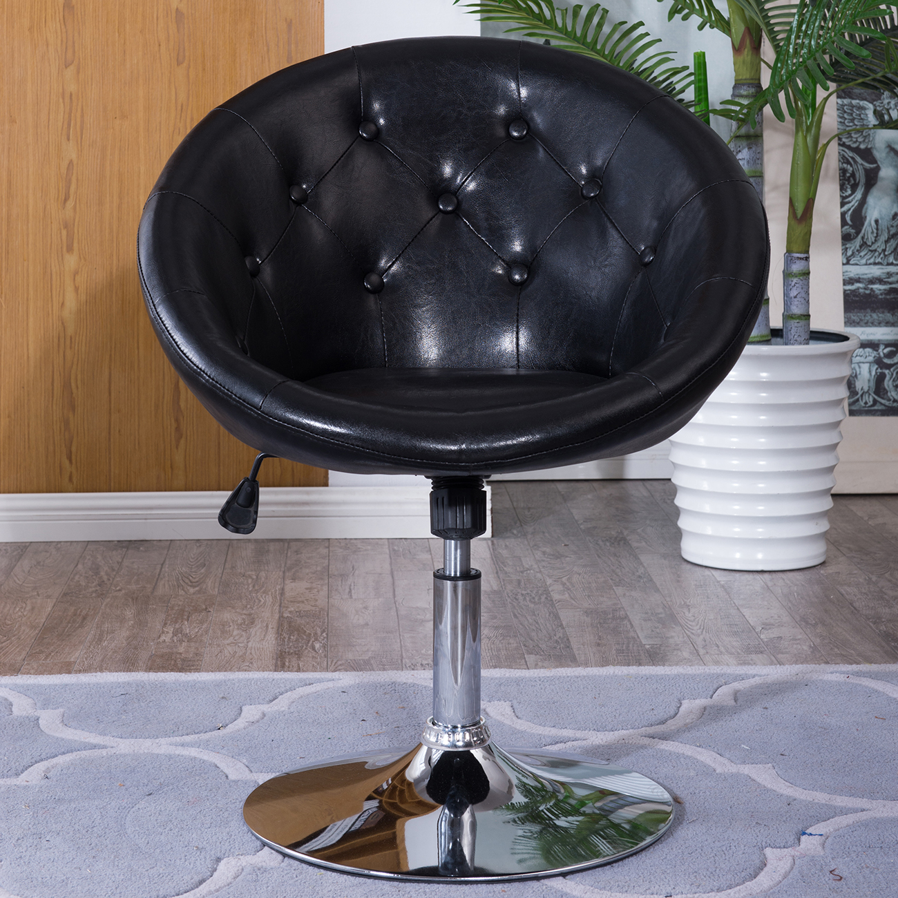 Comfortable Vanity Chair Round Back Swivel Black Chair Vanity Makeup Vinyl Stool