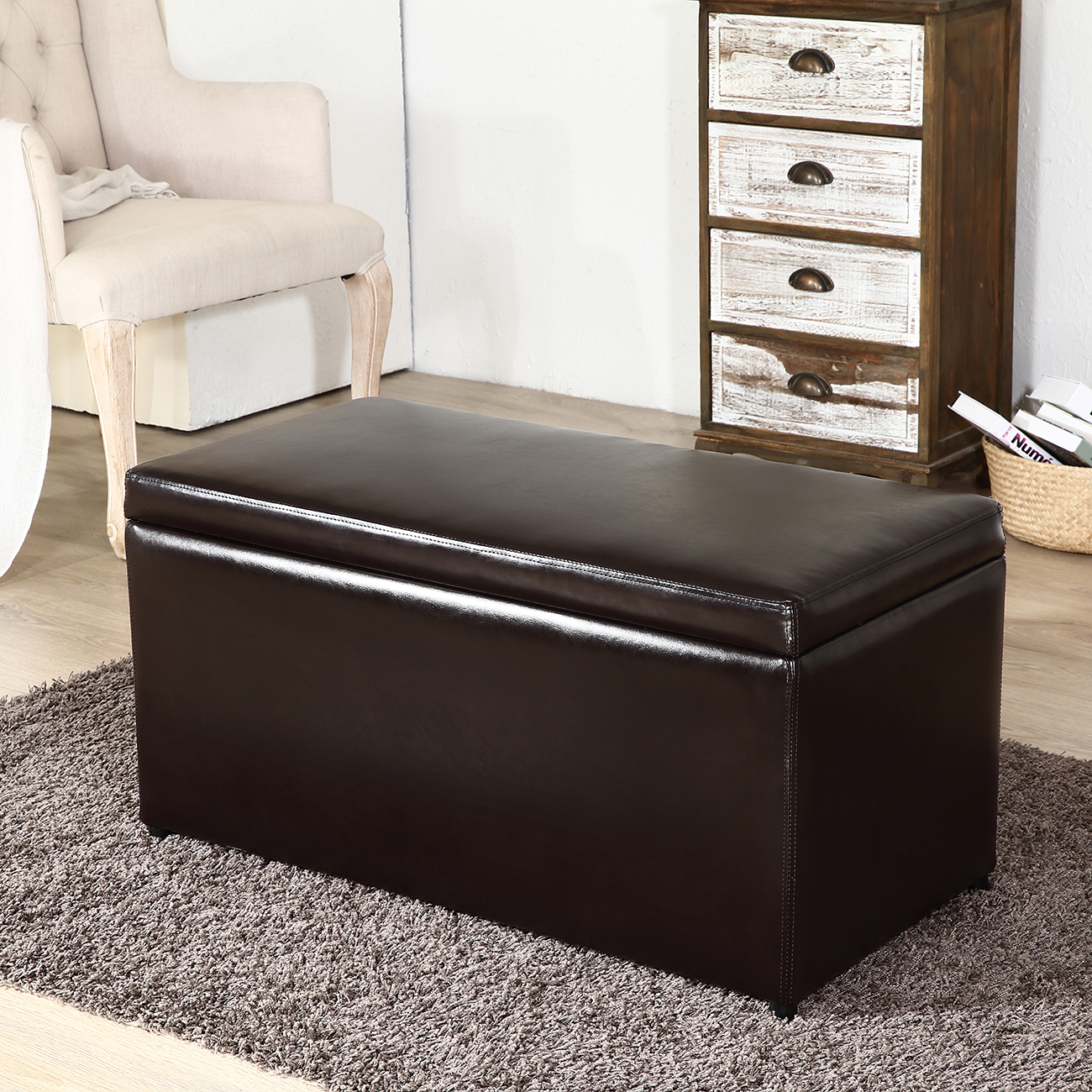 Coffee Table With Lid 3pc Ottoman Bench Storage Lid Tray Footrest Coffee Table