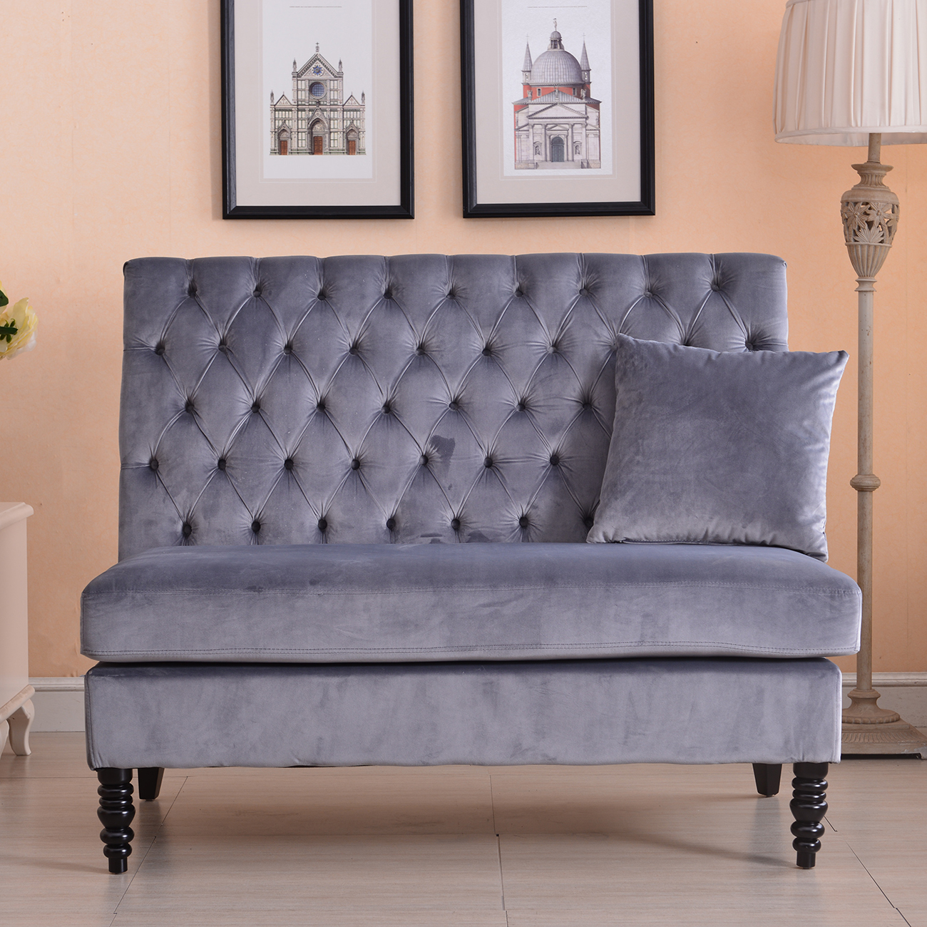 Settee Loveseat Details About Velvet Modern Tufted Settee Bench Bedroom Sofa High Back Love Seat Beige Gray