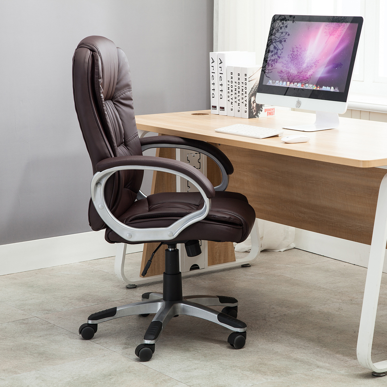 White And Black Office Chair Black Brown White Pu Leather Modern Executive Computer