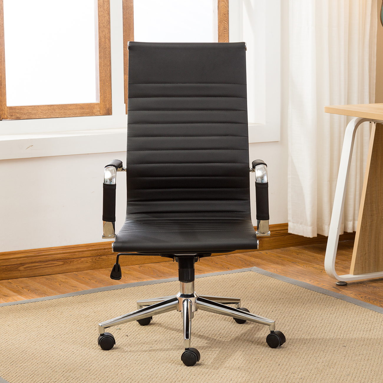 High Back Desk Chair Ergonomic Ribbed Pu Leather High Back Executive Computer