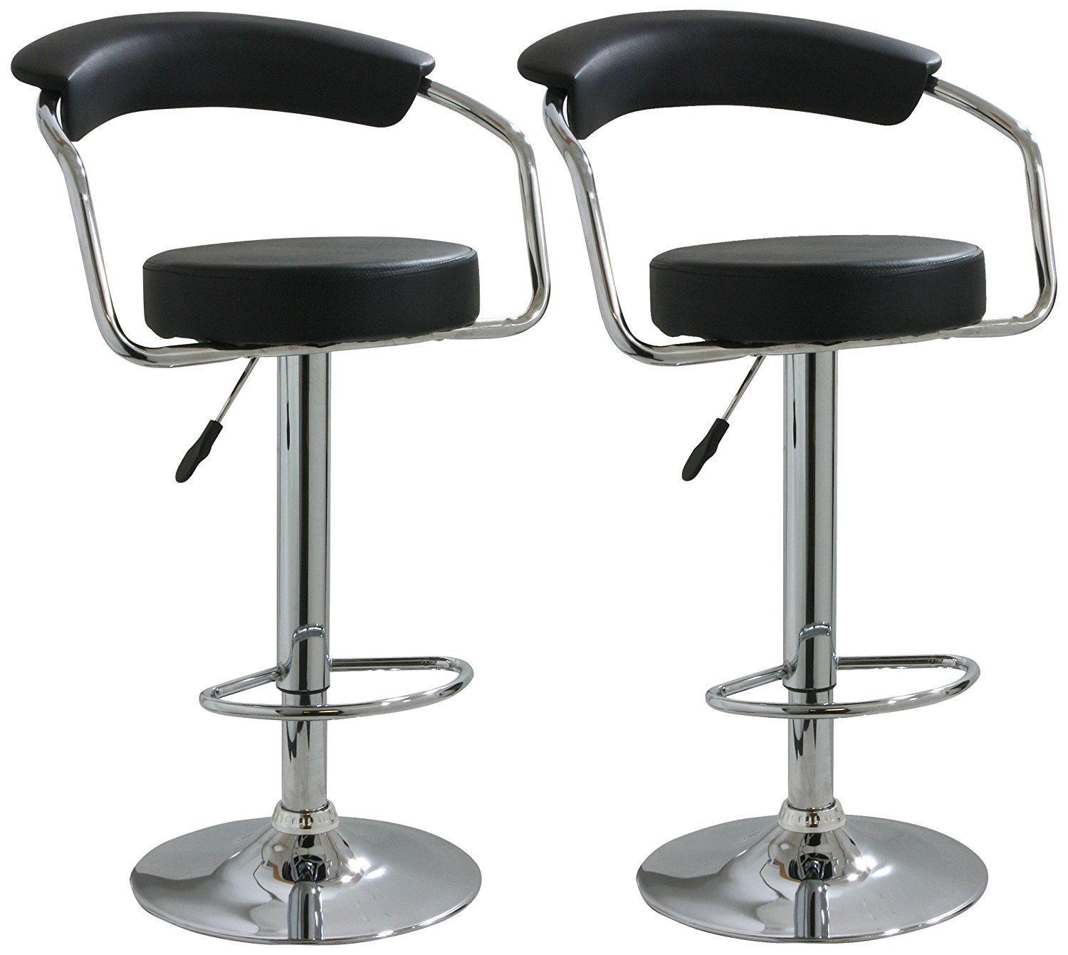 Bar Stool Chairs Details About Modern Set Of 2 Bar Stools Leather Adjustable Swivel Pub Chair In Multi Colors