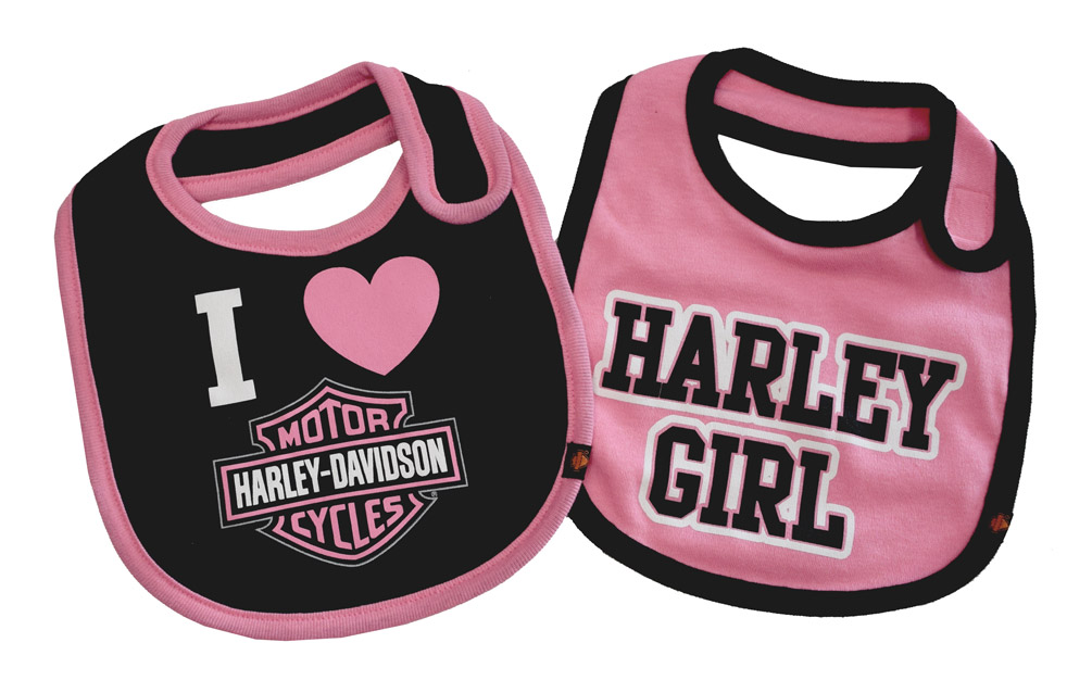 Harley-Davidson Baby Girls\u0027 Bibs, Bar  Shield 2 Pack Set, Black