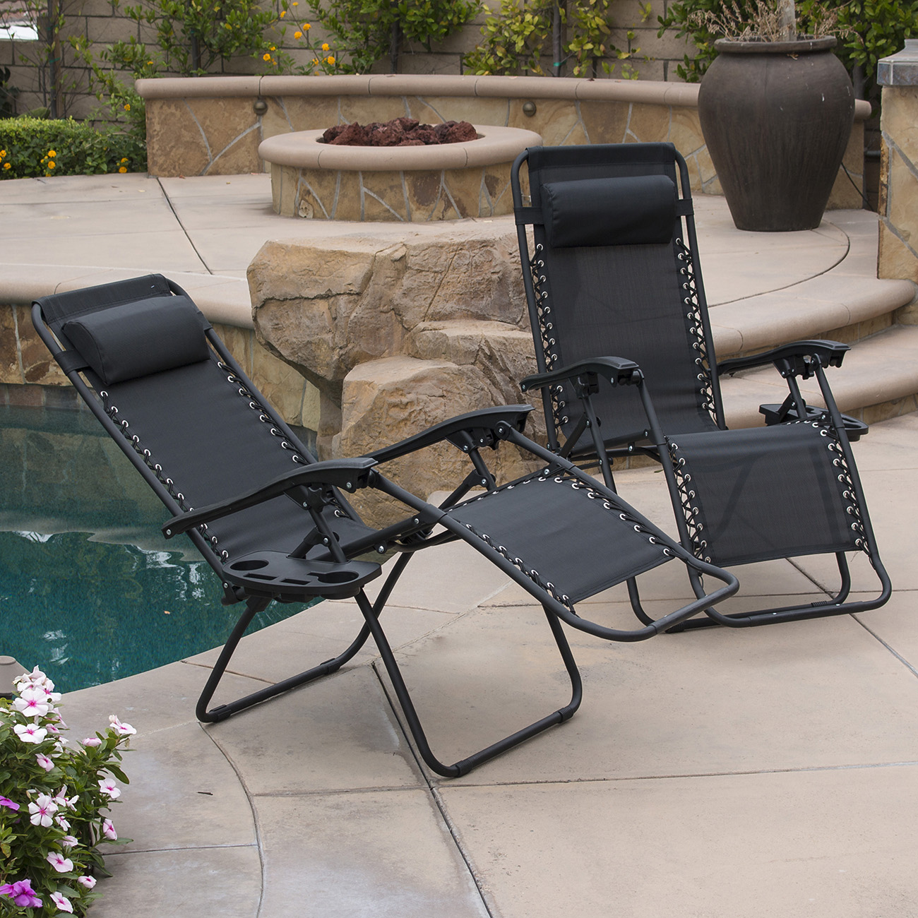 Outdoor Recliner Lounge 2pc Zero Gravity Chairs Lounge Patio Folding Recliner