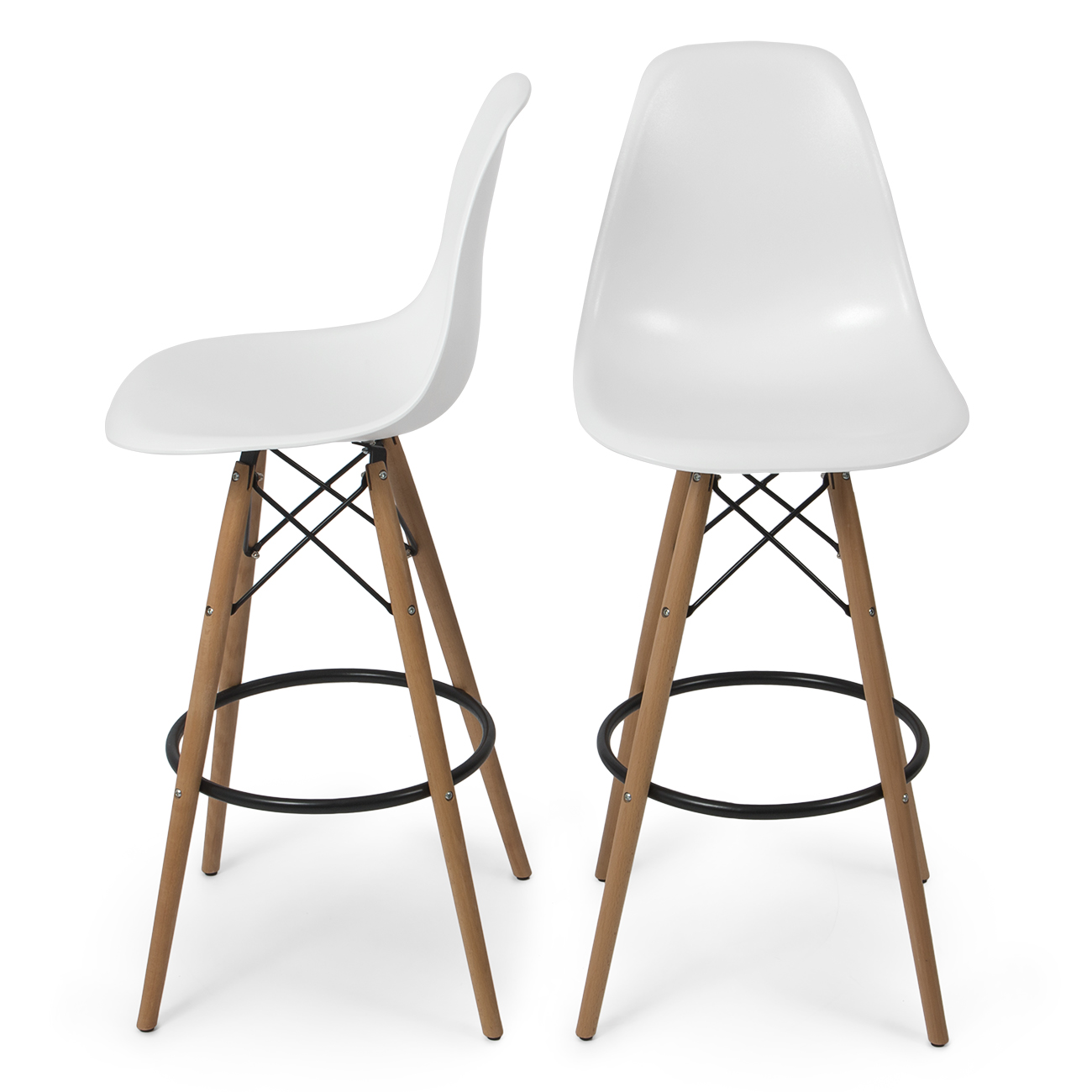 Modern Wood Counter Stool Set Of 2 Modern Eames Style Dsw Bar Stool Side Chair Mid