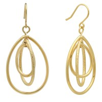 Gold Plated Triple Orbital Teardrop Hoop Earrings