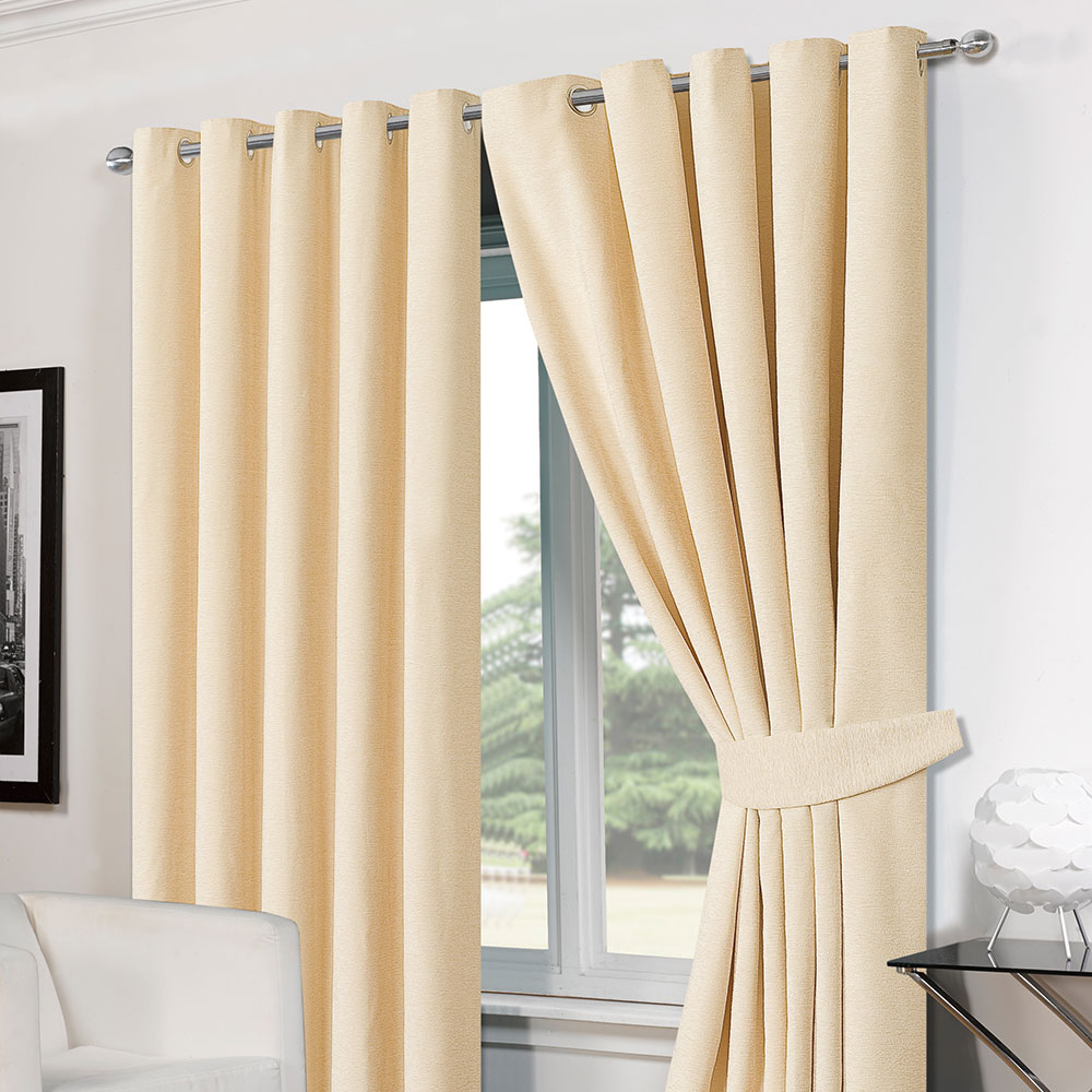 Ready Made Thermal Curtains Luxury Ring Top Eyelet Chenille Lined Thermal Ready Made Curtains