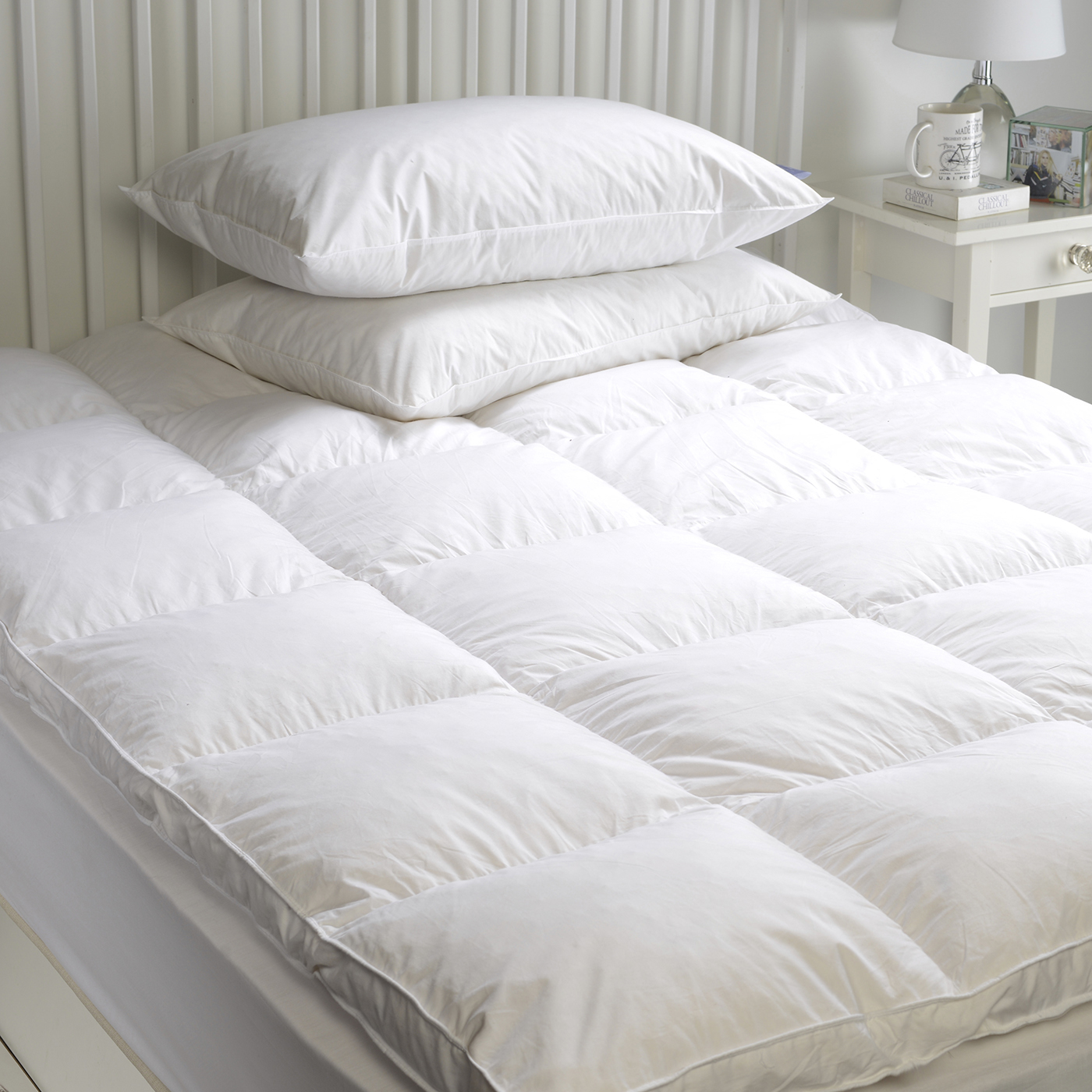 Single Bed Topper Goose Feather And Down Mattress Topper Enhancer Cover
