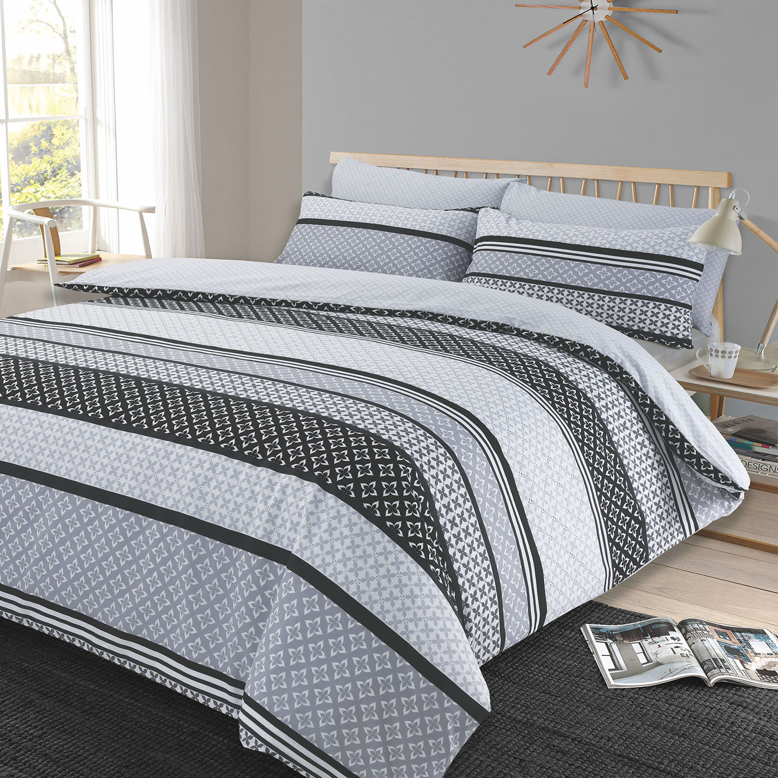 Charcoal Grey Bedding Duvet Cover With Pillowcase Reversible Bedding Set Lola