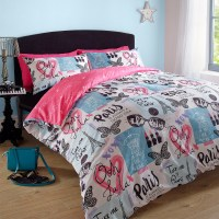 Duvet Cover with Pillowcase Paris Eiffel Tower Pink Blue ...