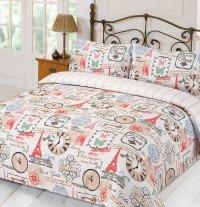 Duvet Cover with Pillowcase Parisienne Eiffel Tower Stripe ...