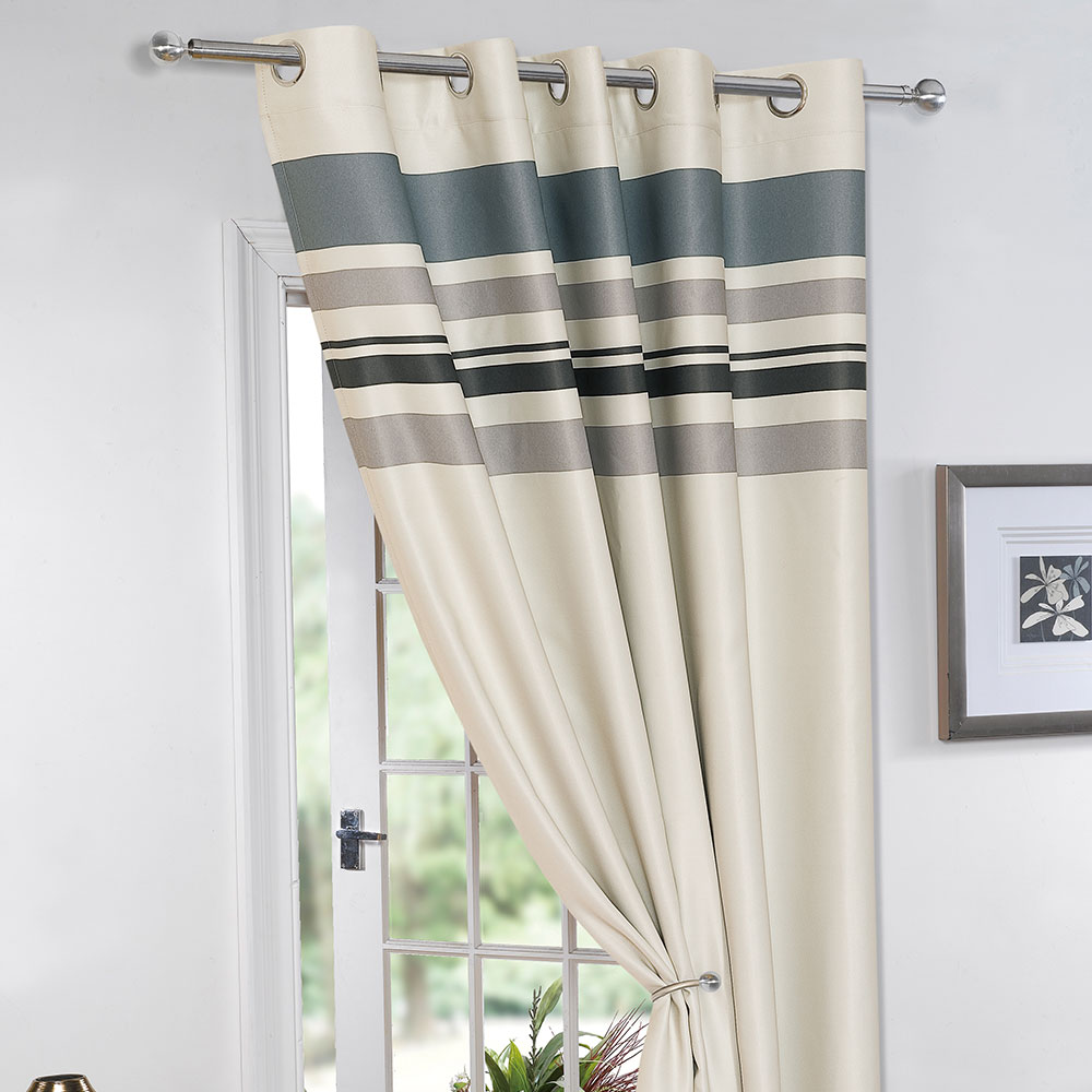 Ready Made Thermal Curtains Details About Striped Ring Top Lined Pair Eyelet Ready Made Thermal Blackout Curtains Tiebacks