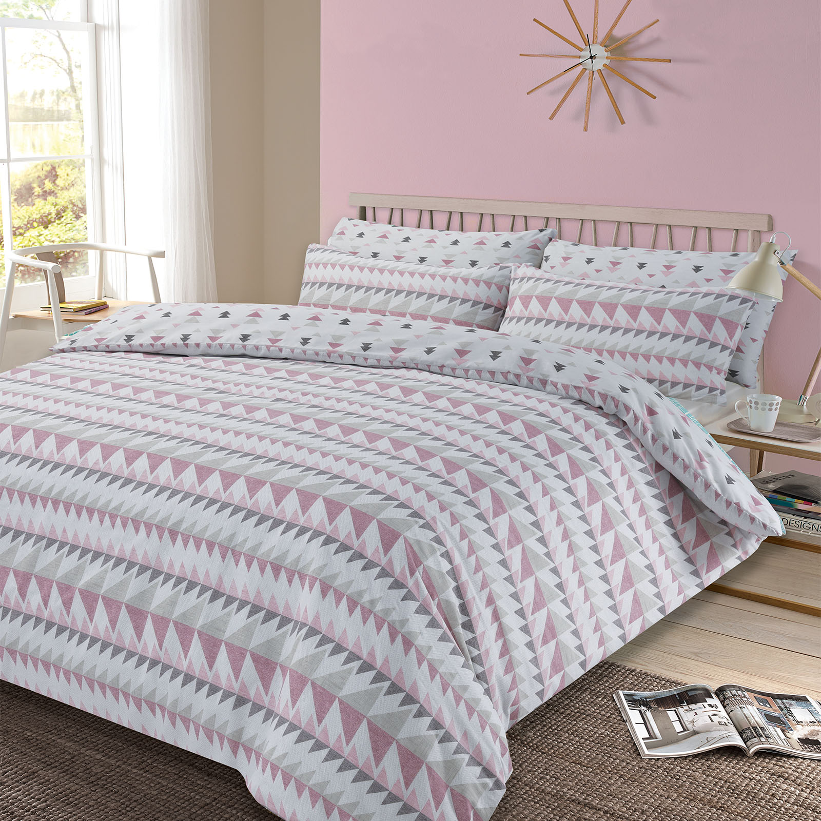 Duvet And Cover Details About Dreamscene Duvet Cover With Pillowcase Geometric Rewind Bedding Set Grey Blush