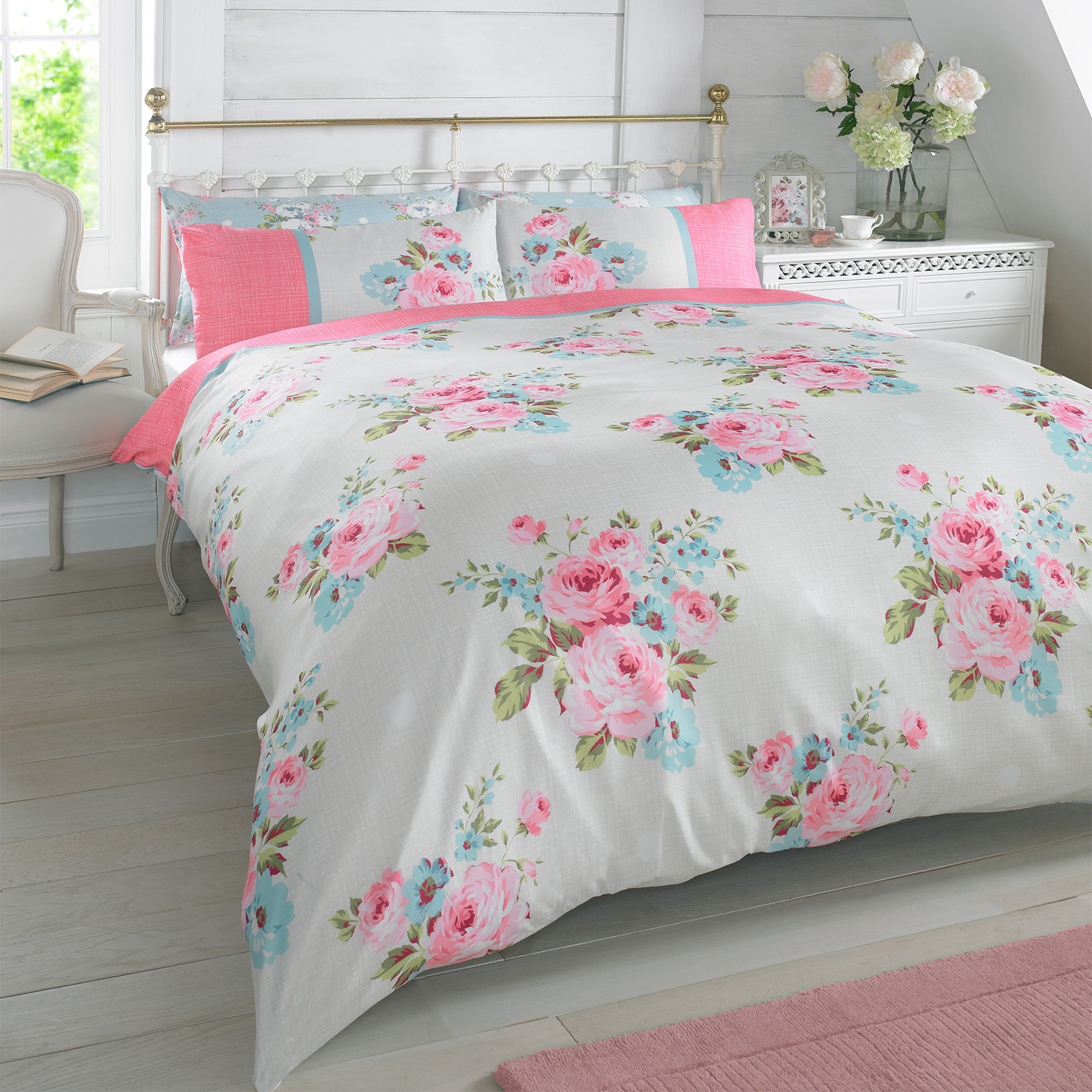 White Single Quilt Cover Duvet Quilt Cover With Pillowcase Bedding Set Floral Rosie