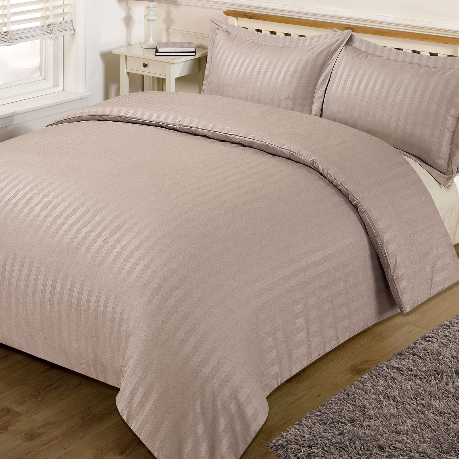 Satin Duvet Cover Details About Brentfords Satin Stripe Quilt Duvet Cover With Pillowcase Set Single Double King