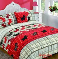 5 Piece Bed in Bag Duvet Quilt Cover Scottie Dog Tartan ...