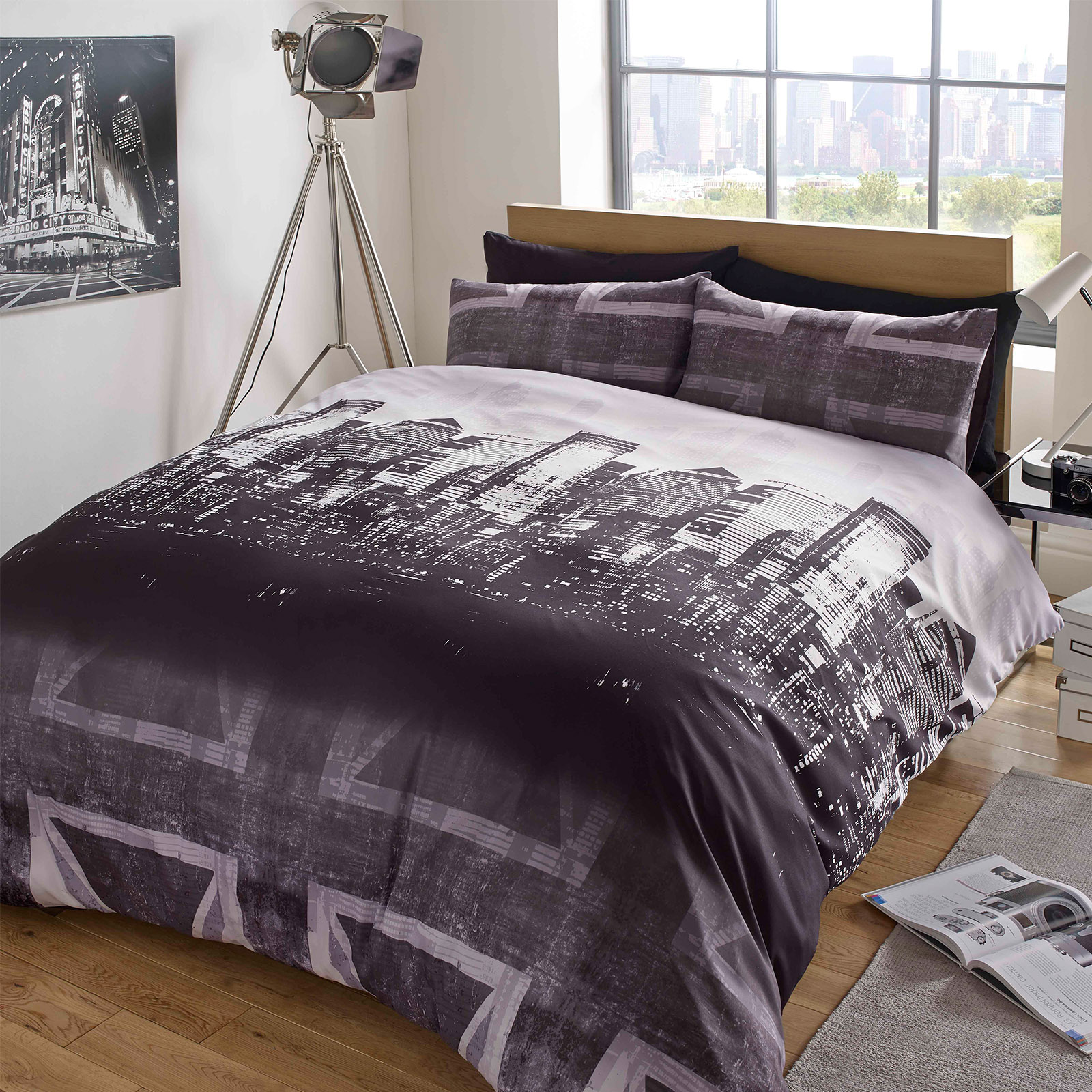 Black White And Grey Duvet Covers Dreamscene Union Jack Duvet Cover With Pillow Case London