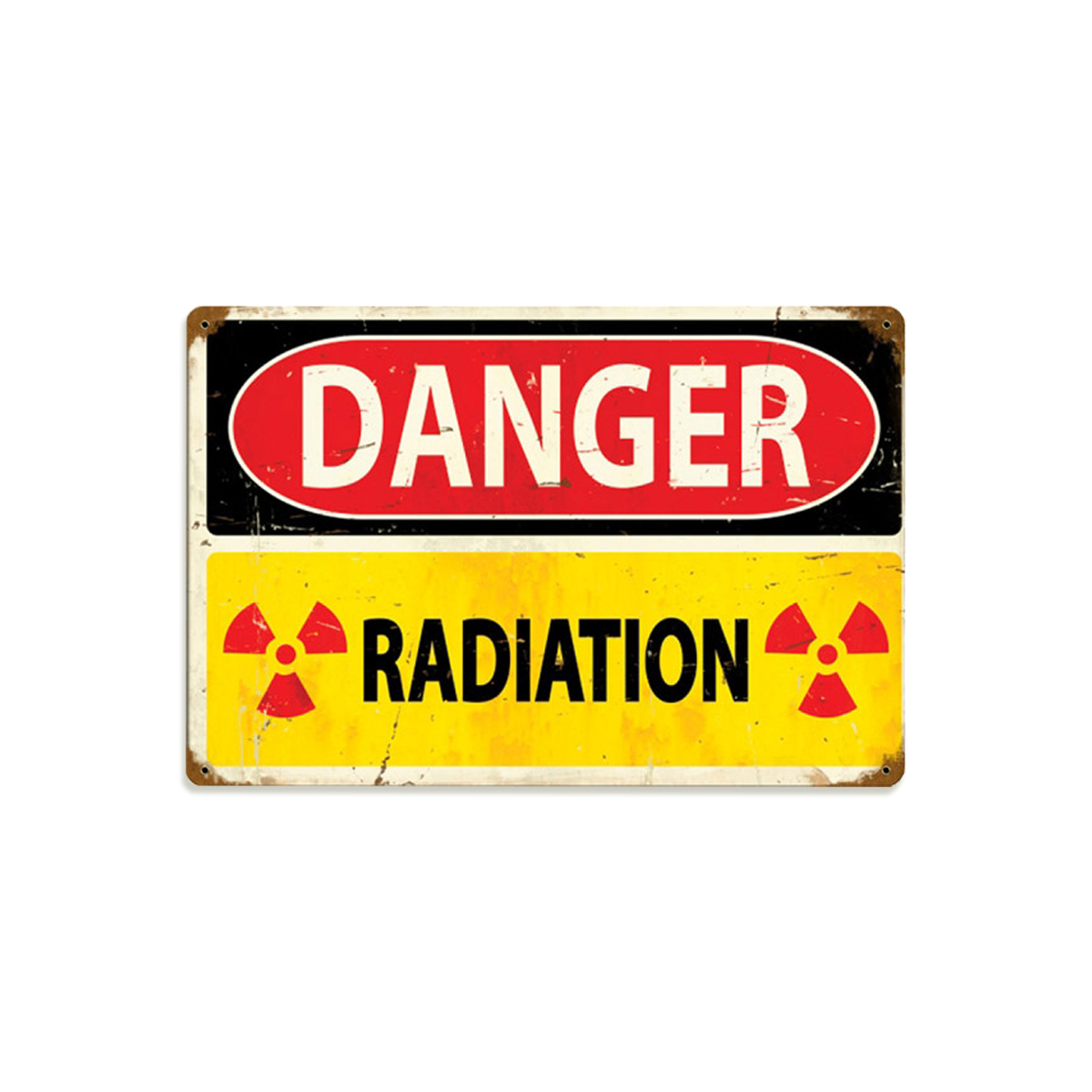 Atomic Wall Clocks Made In Usa Danger Radiation Metal Sign Distressed Vintage Nuclear