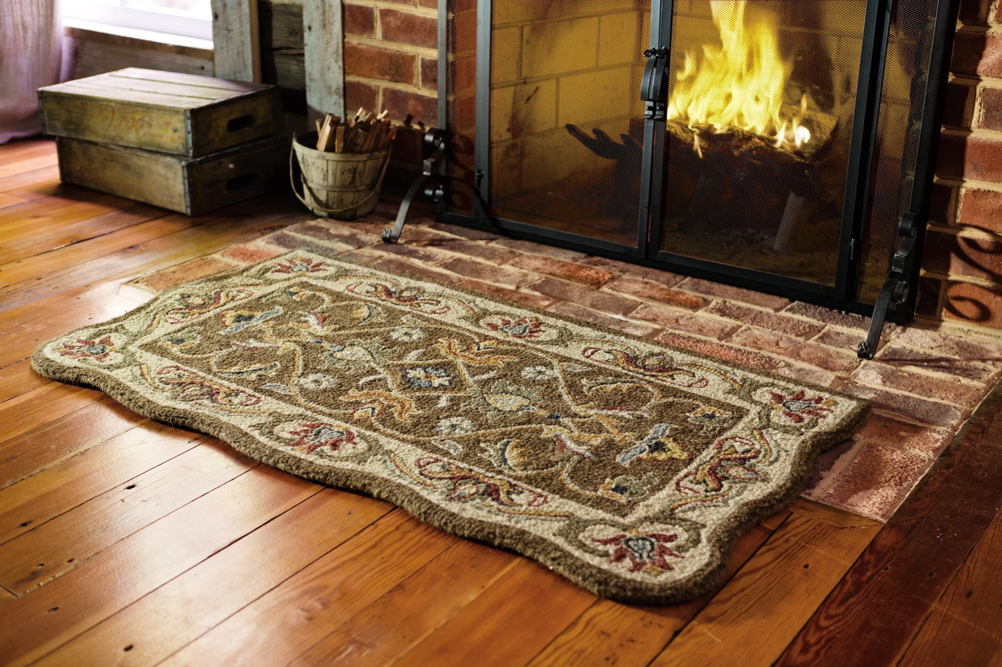 Fireplace Hearth Mat Handtufted Fire Resistant Scalloped Wool Mclean Hearth Rug