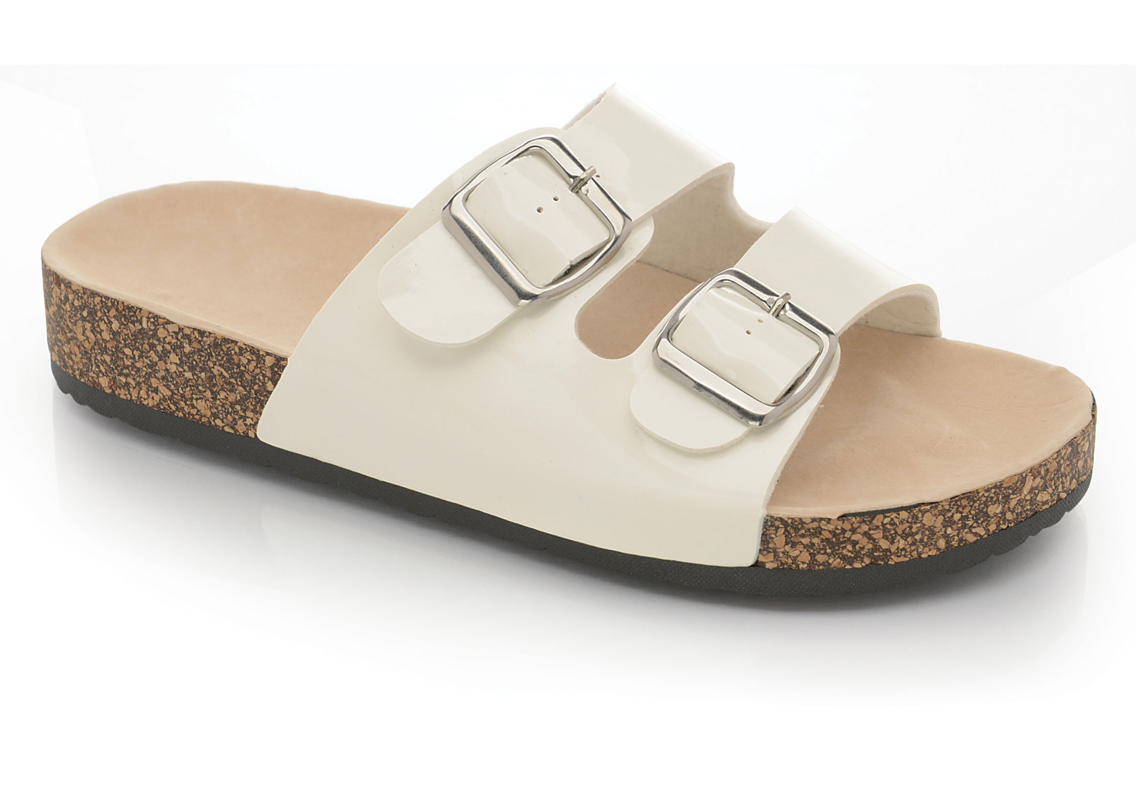 Ladies womens flat sandals summer comfort cork sole