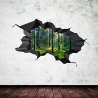 FULL COLOUR WOODS FOREST TREES JUNGLE CRACKED 3D WALL ART ...