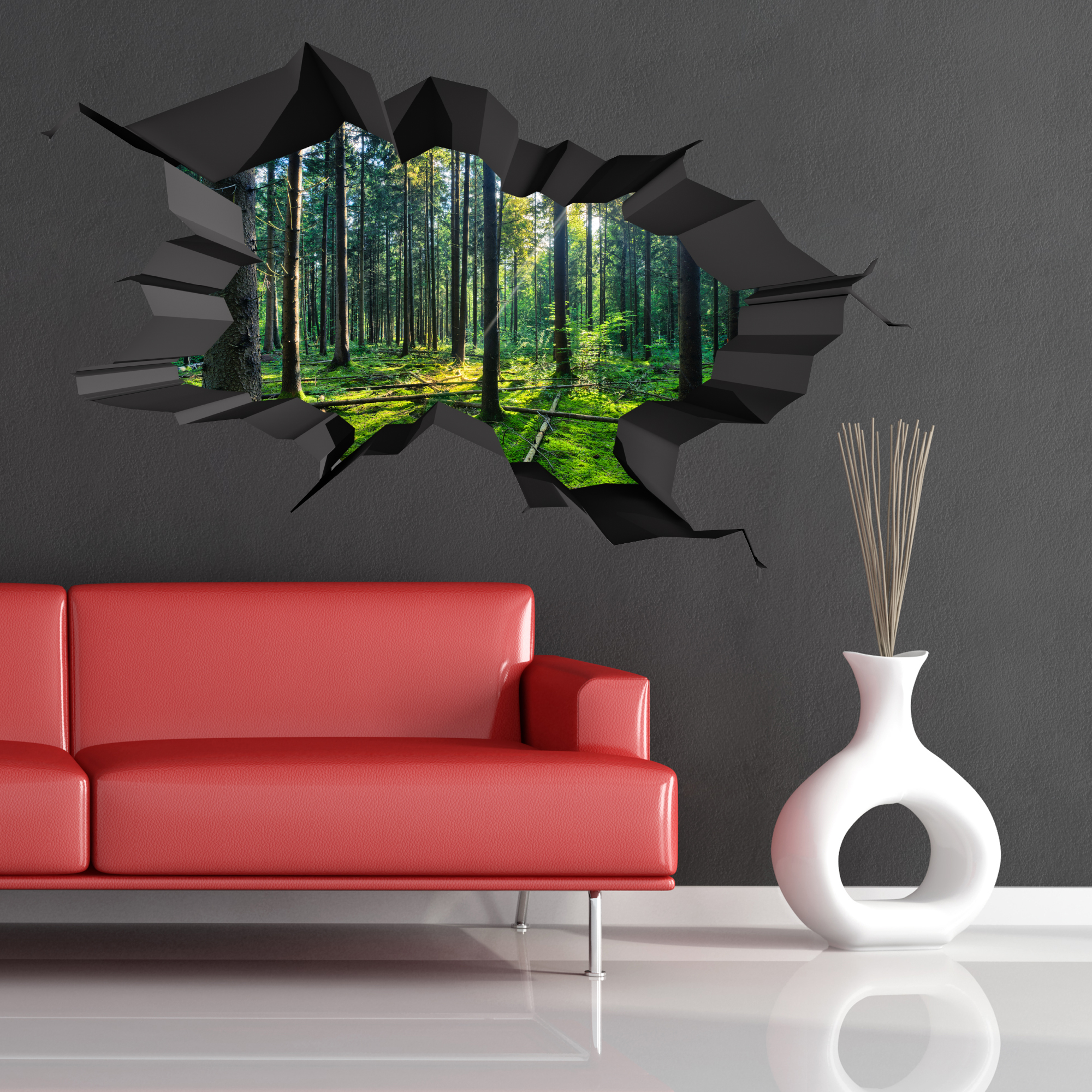3d Wall Art Full Colour Woods Forest Trees Jungle Cracked 3d Wall Art