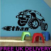 Personalised Monster Truck Name Bedroom Wall Sticker Decal ...