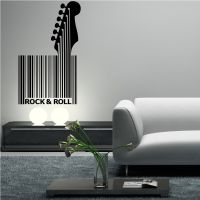 Rock N Roll Wall Art Sticker Quote Barcode Modern Abstract ...