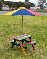 Kids Picnic Table Setting W Umbrella Wooden Children ...
