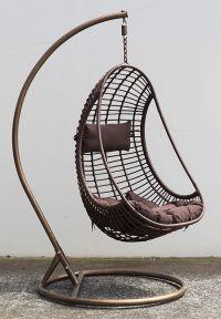 Outdoor Hanging Chair w/ Cushion Coffee, PE Wicker Bird
