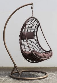 Outdoor Hanging Chair w/ Cushion Coffee, PE Wicker Bird ...