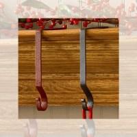 Christmas Stocking Hangers Holders Metal Black or Red Set ...