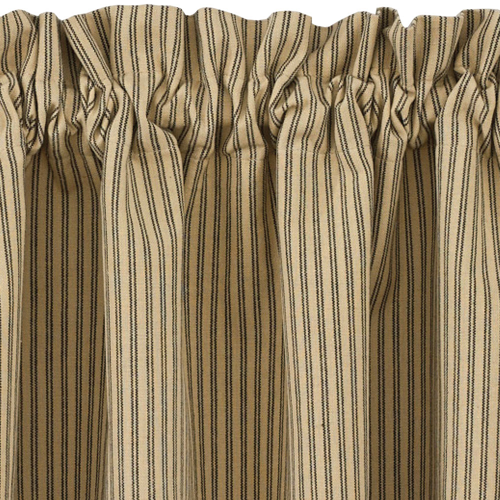 24 Inch Kitchen Curtains Details About Black And Tan Ticking Stripe Curtain Tiers Primitive Star 24