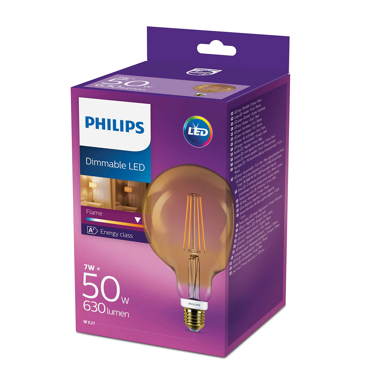 Bulb Philips Philips Led 50w Dimmable Vintage Globe Filament E27 Edison