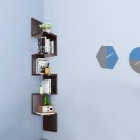 5 Tier Wall Mount Corner Shelf Storage Unit Shelves Wood ...