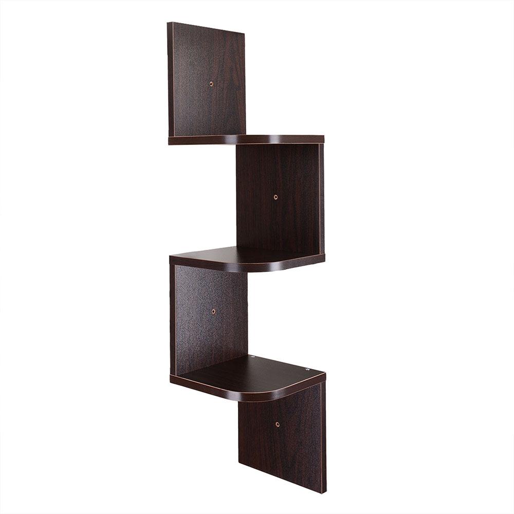 Wood Wall Mount Corner Shelf Home Hanging Storage Rack