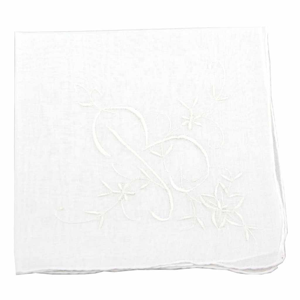 white handkerchief soft cotton hanky gift for women embroidered initial monogram