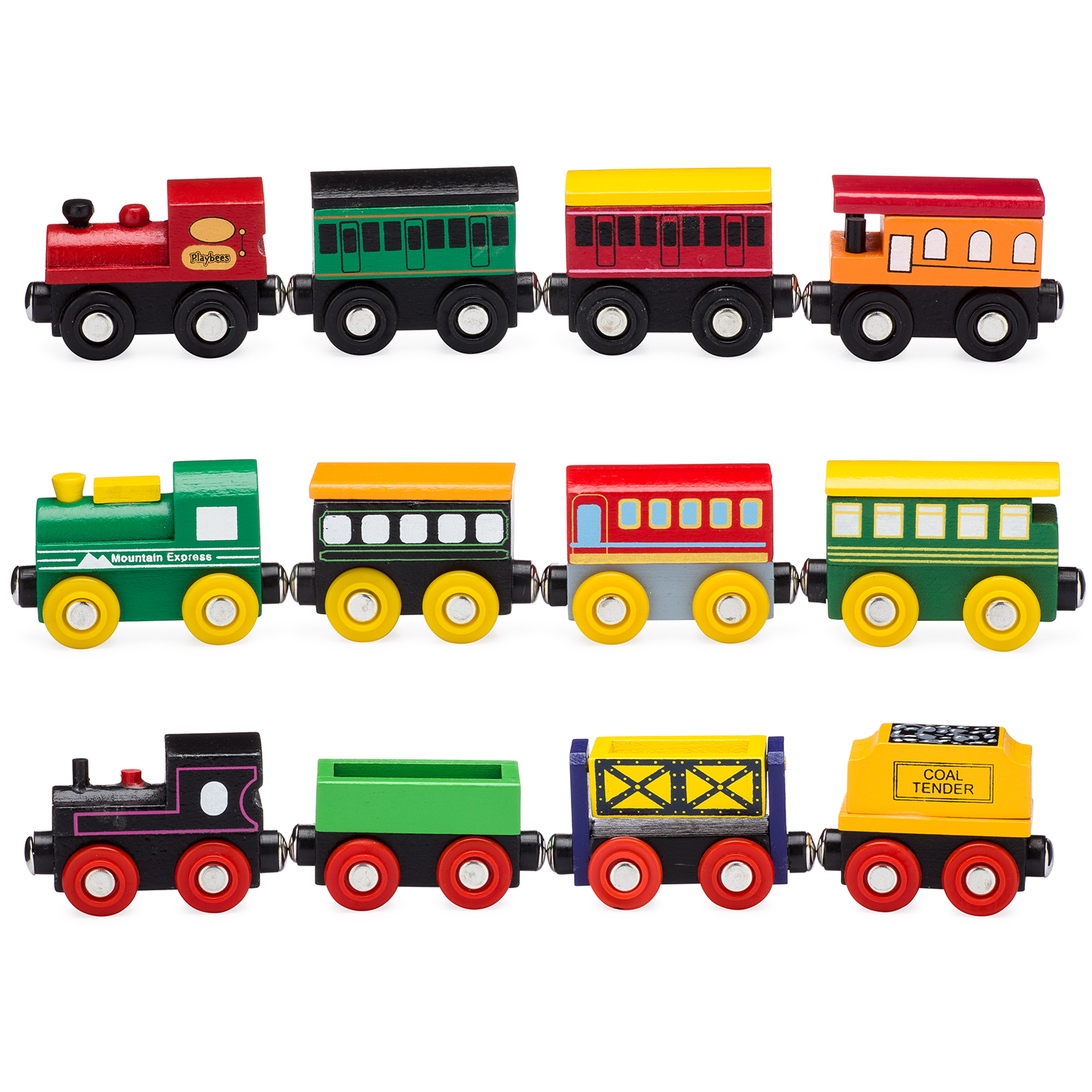 Wooden Train Tracks Playbees 12 Piece Wooden Toy Train Cars And Engine Set