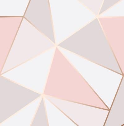 Rose Gold Pink Geometric Wallpaper 3D Apex Triangle Modern Metallic Fine Decor 5011419419937   eBay