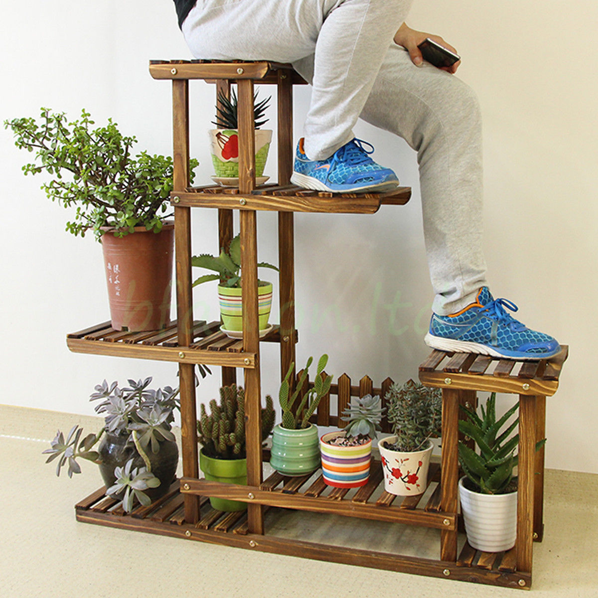 Plant Shelving Indoor Wooden Plant Flower Pot Display Stand Wood Shelf Storage
